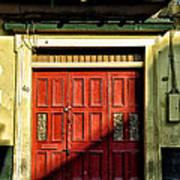 Red Door In Half Shadow Art Print