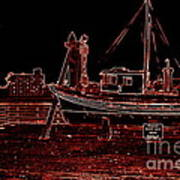 Red Electric Neon Boat On Sc Wharf Art Print
