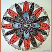Red Flower Mandala  Art Print