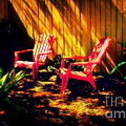 Red Garden Chairs Art Print