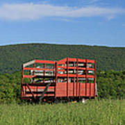 Red Hay Wagon In Green Mountain Field Art Print