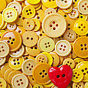 Red Heart And Yellow Buttons Art Print
