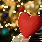 Red Heart On Piano, Sandusky Art Print by Ray Sandusky / Brentwood, TN