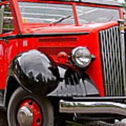 Red Jammer Tour Bus Glacier National Park Art Print