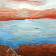 Red Leaf In Lake Juliette Art Print