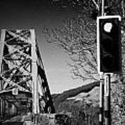 Red Light Traffic Control At The Single Track Connel Bridge On The A828 Coastal Route Road Over Loch Art Print by Joe Fox