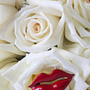 Red Lips And White Roses Art Print