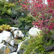 Red Maple Above The Falls Art Print
