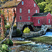 Red Mill On The Water Art Print