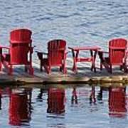 Red Muskoka Chairs Art Print
