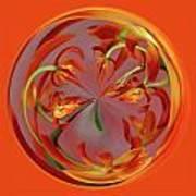 Red Orange Orchid Orb Art Print