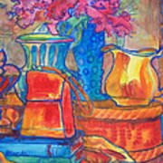 Red Purse And Blue Line Art Print by Blenda Studio