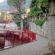 Red Rail Walkway To Varenna Along Lake Como Art Print
