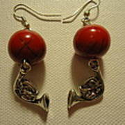 Red Rocker French Horn Earrings Print by Jenna Green