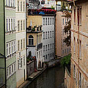 Red Rooftops In Prague Canal Art Print