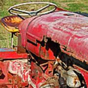 Red Rusty Beach Tractor Art Print