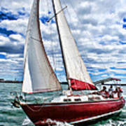 Red Sailboat Green Sea Blue Sky Art Print
