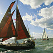 Red-sailed Sailboat And Others Art Print