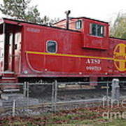 Red Sante Fe Caboose Train . 7d10329 Art Print by Wingsdomain Art and Photography