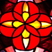 Red Stained Glass Art Print