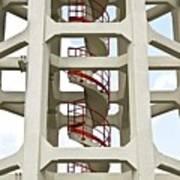 Red Stairway Art Print by Gerard Hermand