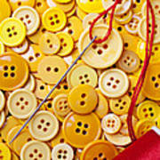 Red Thread And Yellow Buttons Art Print