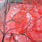 Red Tree Art Print by Pretchill Smith