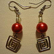 Red Twisted Square Earrings Art Print by Jenna Green