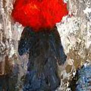 Red Umbrella Under The Rain Art Print