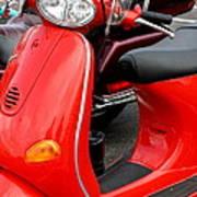 Red Vespa Vintage Scooter Motorcycle Art Print