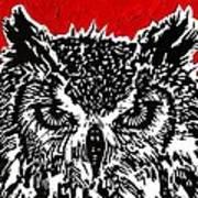 Redder Hotter Eagle Owl Art Print by Julia Forsyth