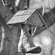 Redneck Cowboy Boot Birdhouse Bw Art Print