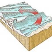 Reef Break Wave Formation, Artwork Art Print