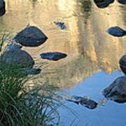 Reflecting Peaks In The Merced River Art Print