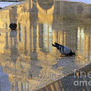 Reflection Of The Louvre In Paris Art Print