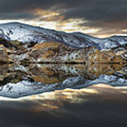 Reflections Of Cliffs On Blue Lake St Bathans Print by Colin Monteath