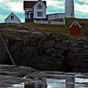 Reflections Of Nubble Lighthouse Art Print by Scott Moore