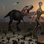 Reptoids Tame Dinosaurs Using Telepathy Art Print