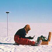 Researcher Measures The Flow Rate Of A Glacier Art Print