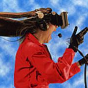 Researcher Wearing Virtual Reality Headset Art Print