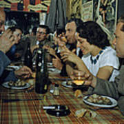 Restaurant Diners Eat Snails, Drink Art Print by Justin Locke
