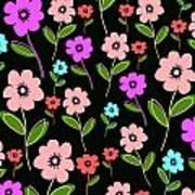 Retro Florals Art Print by Louisa Knight