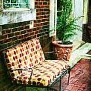 Retro Grunge Sidewalk Bench Seat Art Print