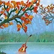 River Guitar Art Print