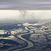 River Running Through A Flooded Countryside Art Print