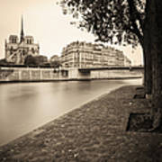 River Seine And Cathedral Notre Dame Art Print