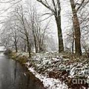 River With Snow Art Print