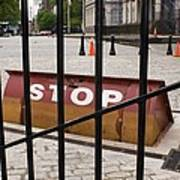 Road Blocker At New York City Hall. Art Print