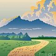 Road Leading To Mountains Art Print