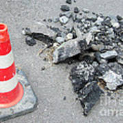 Roadworks - Asphalt And Pylon Art Print